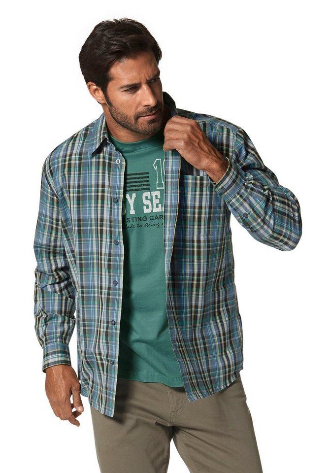 Man's World Karohemd (Set, 2 tlg., mit T-Shirt) in olivgrün-anthrazit-kariert+lindgrün
