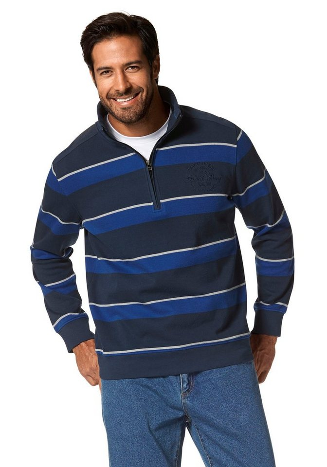 Man's World Sweatshirt in dunkelblau-royalblau-gestreift