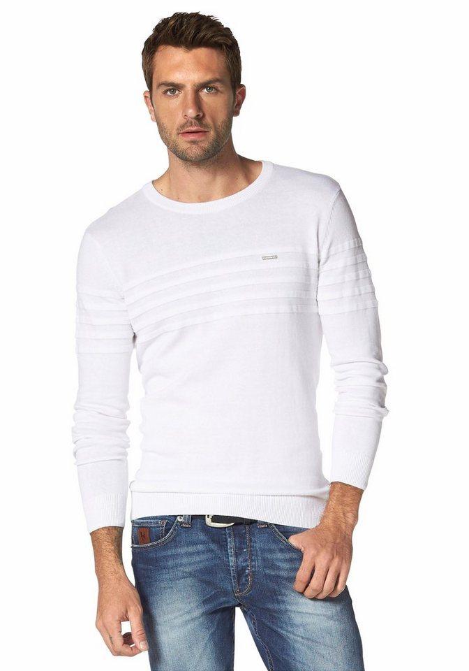 Bruno Banani Streifenpullover in weiß