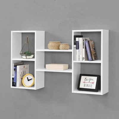 en.casa Wandregal, Hängeregal, »Lillesand« Bücherregal Schweberegal 101x18x60cm Wandboard CD Regal Weiß