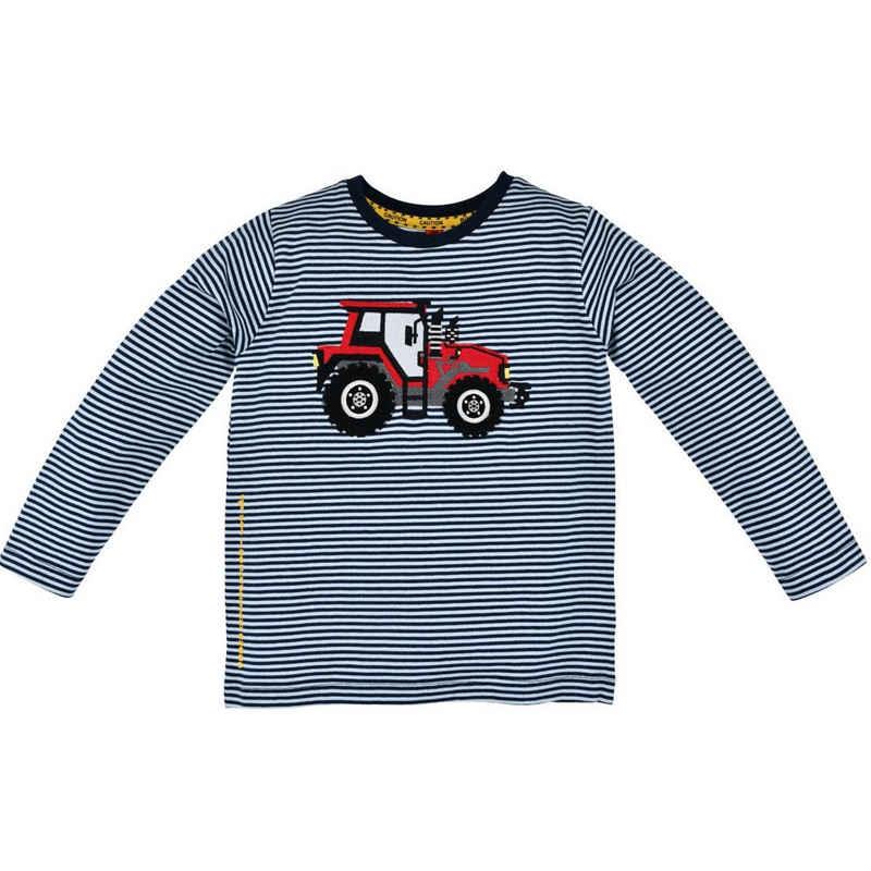 "BONDI Langarmshirt »Kinder Pullover ""Traktor"" Geringelt 33131, Blau Weiß - Jungen Shirt Traktor Trecker Bulldog Applikation« (1-tlg)"