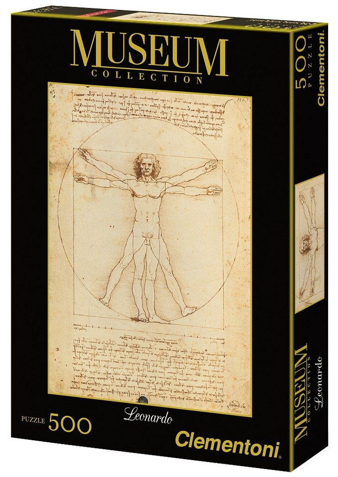 Clementoni Puzzle, 500 Teile, »Leonardo, Vitruvianischer Mensch«