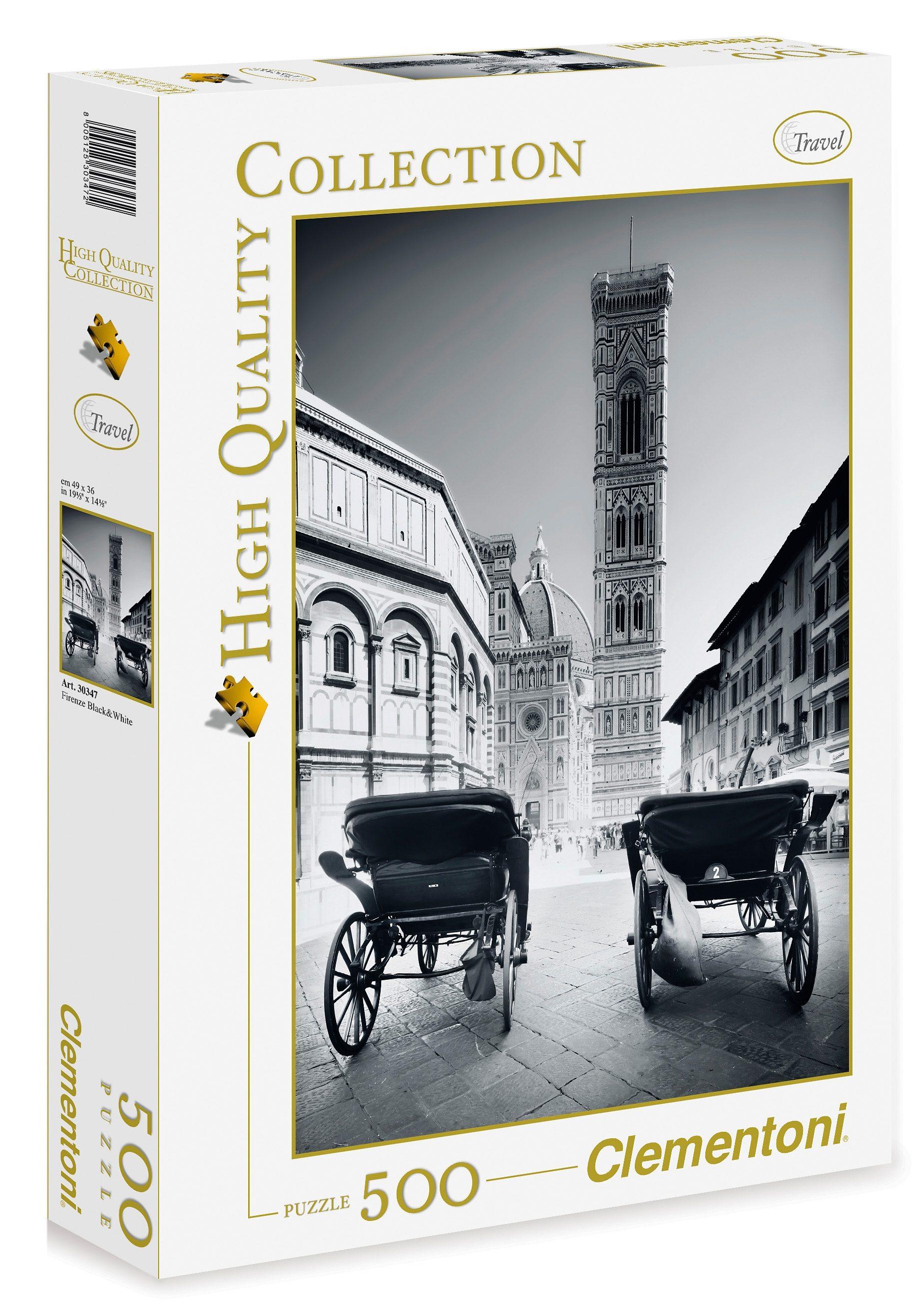 Clementoni Puzzle, 500 Teile, »Florenz schwarz/weiß«