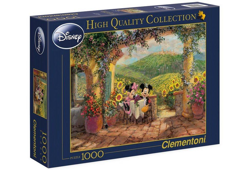 Clementoni Puzzle, 1000 Teile, »Minnie & Mickey - Toskanische Liebe«