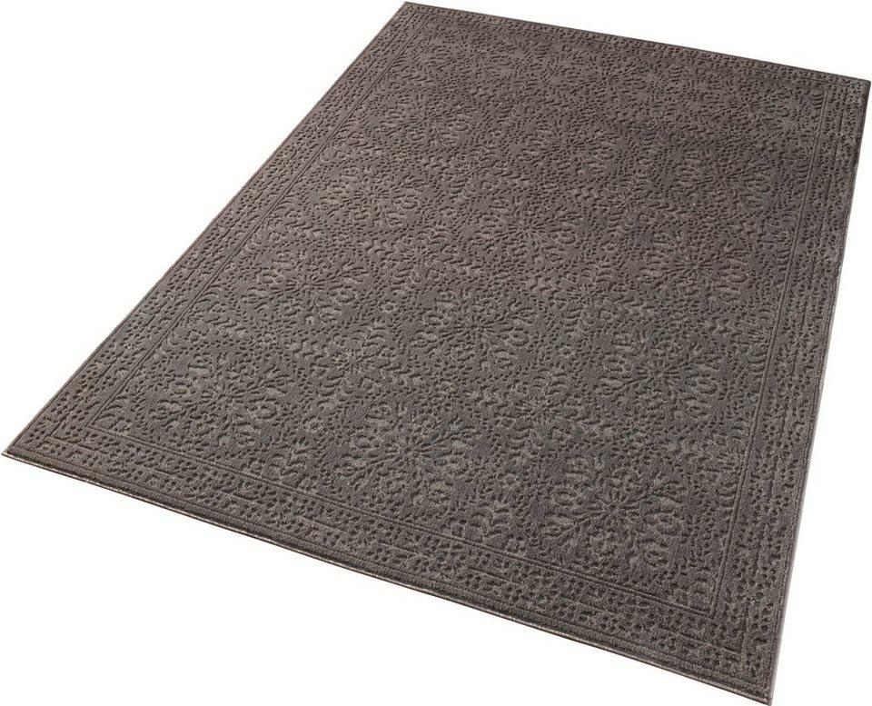 Teppich »Noblesse«, Schöngeist & Petersen, Ornament, gewebt, Hoch-Tief-Effekt in Grau
