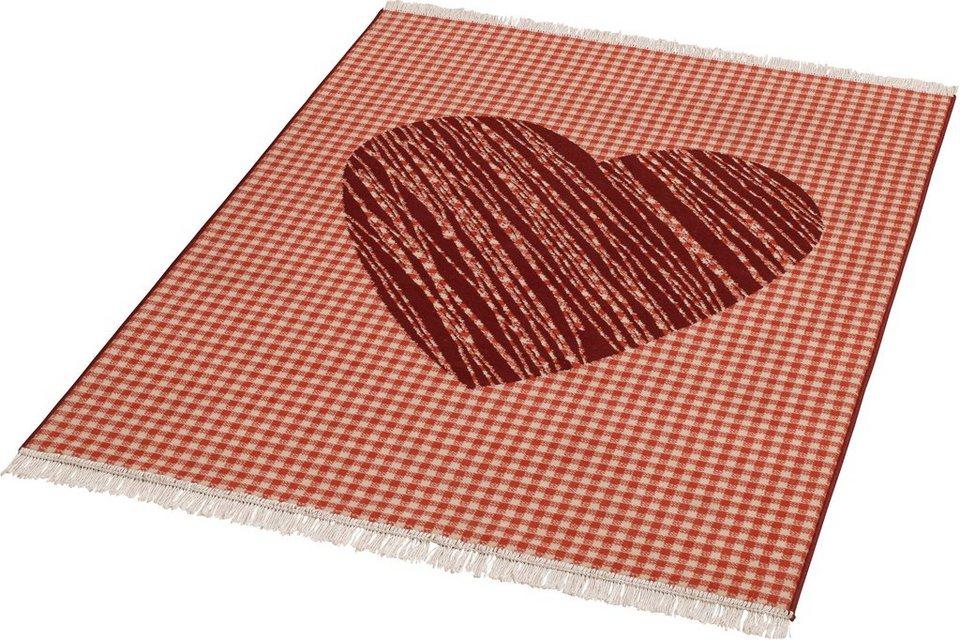 Teppich, Hanse Home, »Heart«, mit Fransen, gewebt in Rot Creme