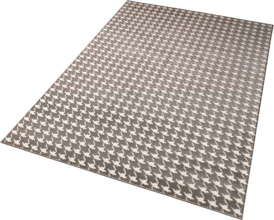 Teppich »Noblesse«, Schöngeist & Petersen, Hahnentritt, gewebt, Hoch-Tief-Effekt in Grau Creme