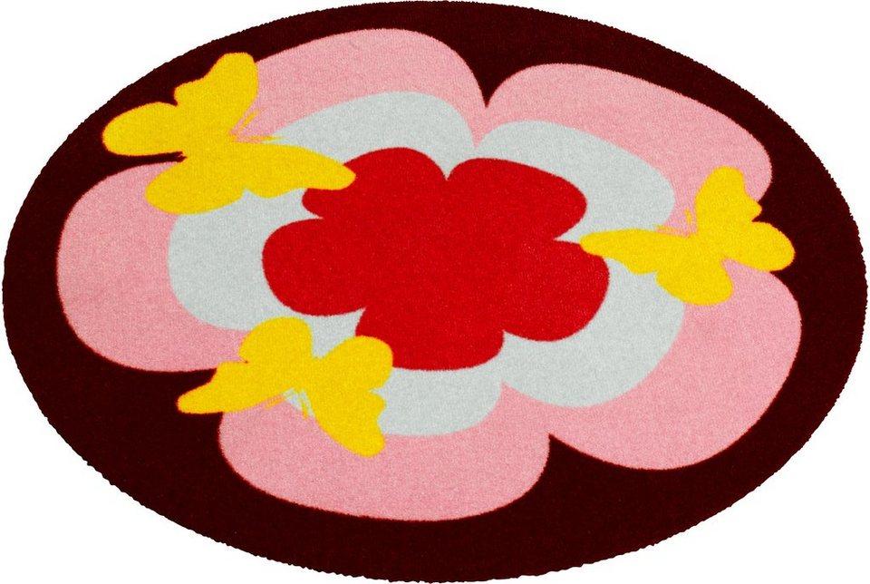 Teppich »Blume«, rund, Zala Living, getuftet in Rosa Bunt
