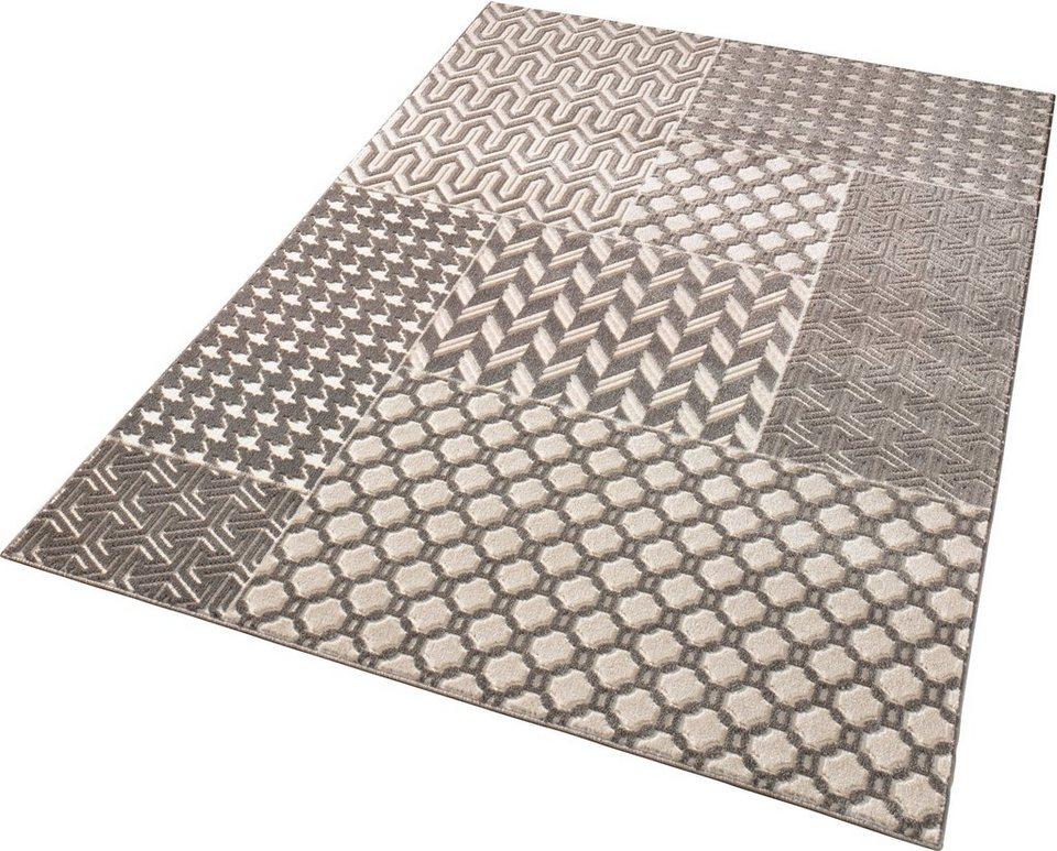 Teppich »Noblesse«, Schöngeist & Petersen, Patchwork Mix, gewebt, Hoch-Tief-Effekt in Grau Creme