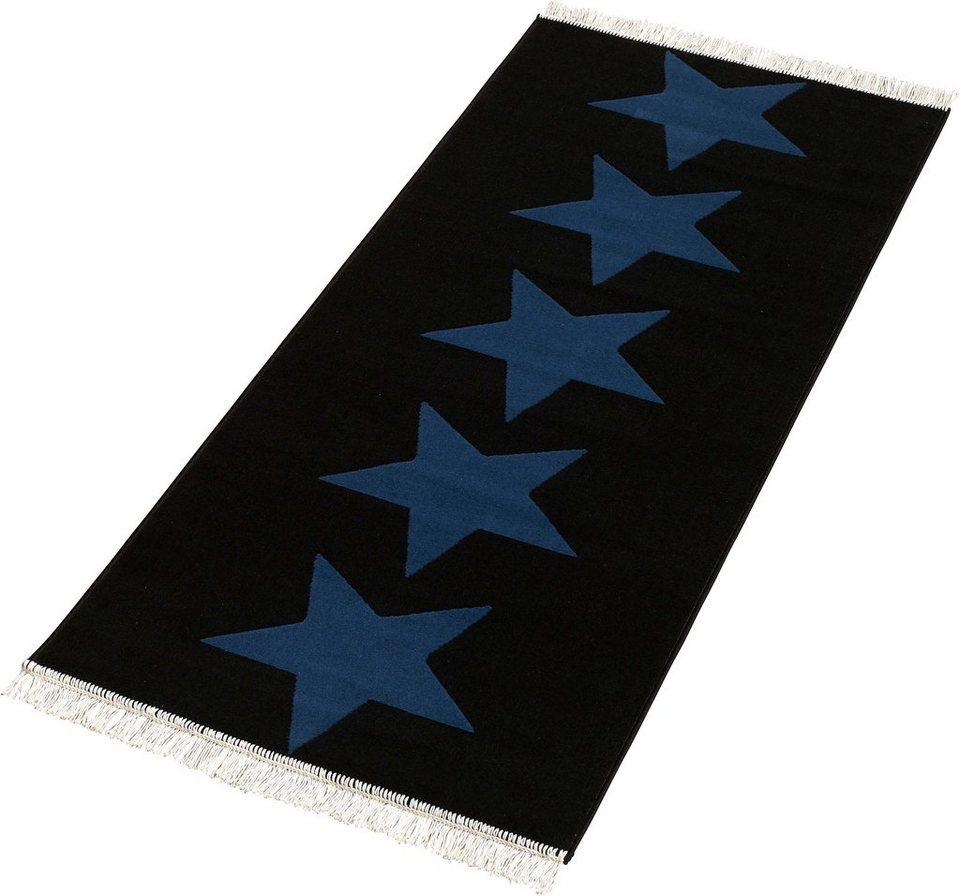 Läufer »Sterne«, Hanse Home, rechteckig, Höhe 9 mm in schwarz-blau