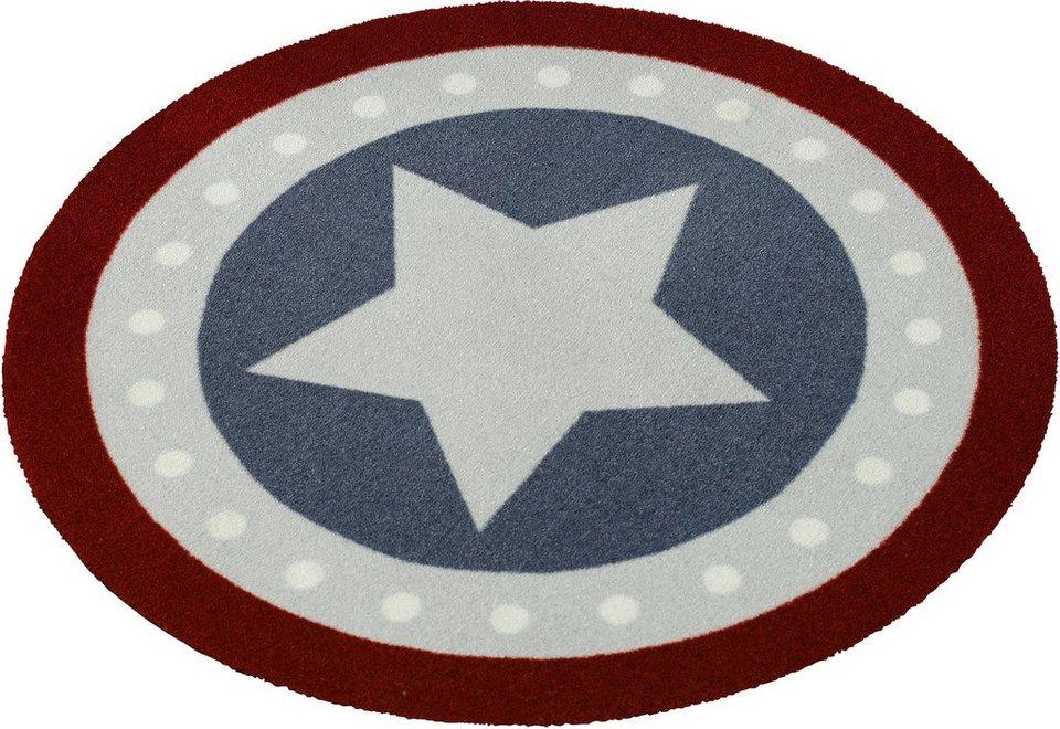 Teppich »Stern«, rund, Zala Living, getuftet in Rot Blau