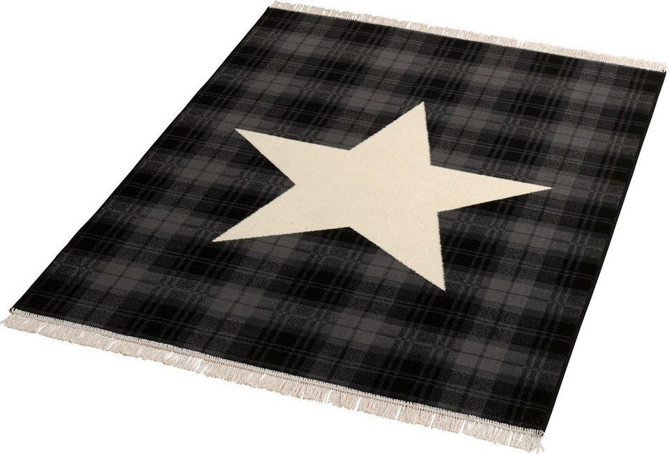 Teppich »Sterne«, Hanse Home, rechteckig, Höhe 9 mm in schwarz-natur