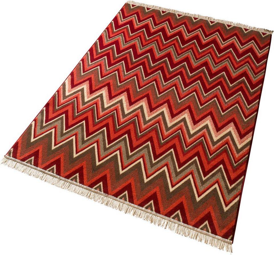 Teppich »Streak«, mit Fransen, Zick-Zack, Hanse Home, gewebt in Braun Rot