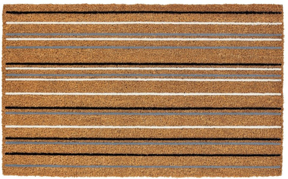 Fußmatte, Astra, »Coco Streifen«, aus robustem Kokos in braun-weiß