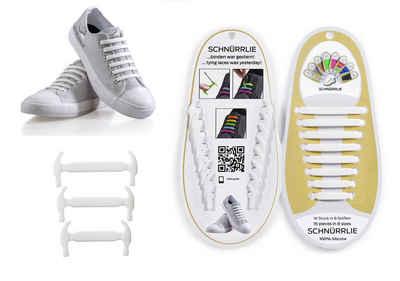 SCHNÜRRLIE Schnürsenkel »Elastische Silikon Schnürbänder - flacher Gummi Schnürsenkel Ersatz für Kinder & Erwachsene«, Ohne Schleife binden Weiß