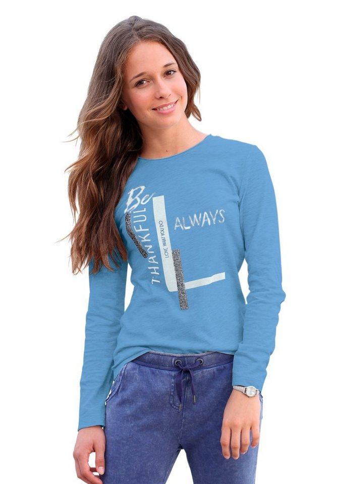 s.Oliver RED LABEL Junior Langarmshirt mit Glitzerapplikation, für Mädchen in Blau-Meliert
