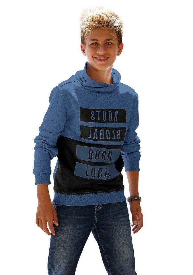 s.Oliver RED LABEL Junior Sweatshirt mit überlappendem Kragen in blau-meliert