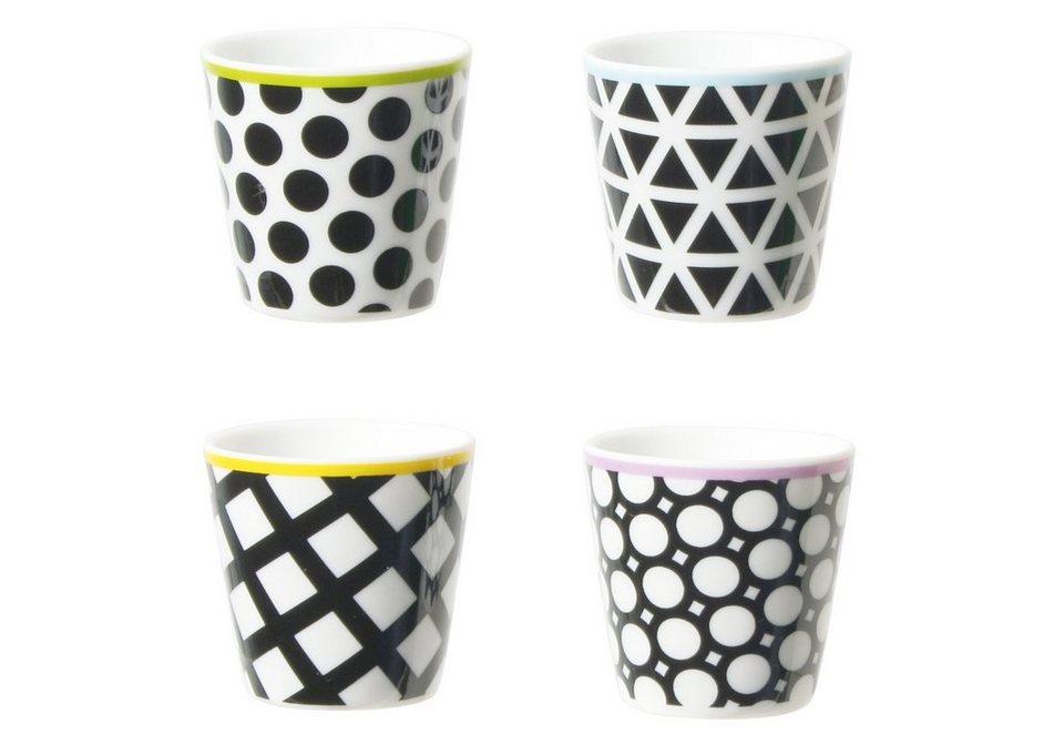 contento Porzellan-Eierbecher, »Cool Black«, 4 Stück in schwarz, weiß