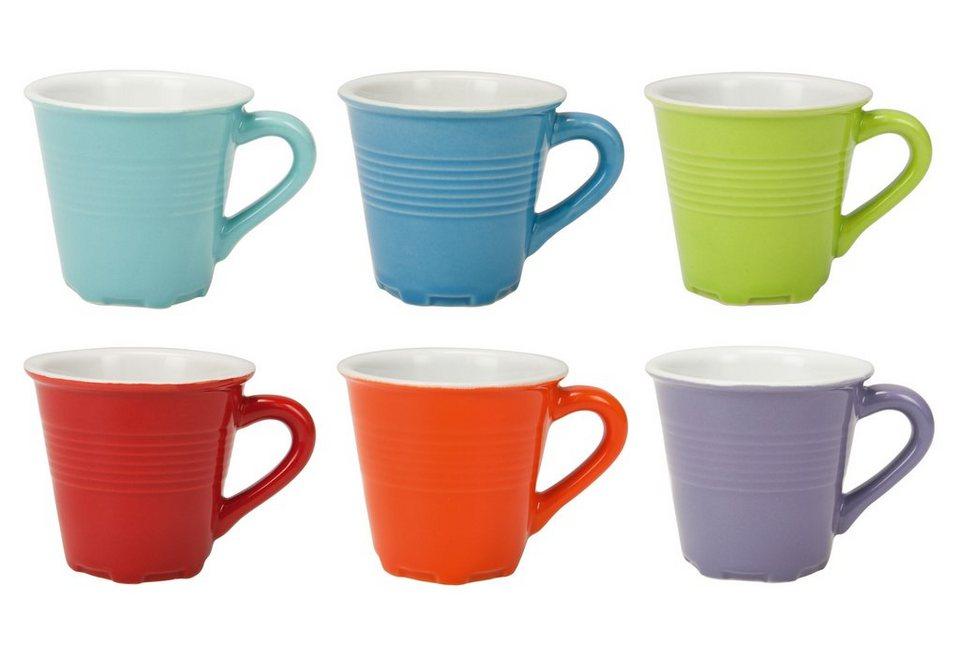 contento Espressotassen-Set, »Piccola«, 6 Stück in rot, grün, orange, violette, hell- und dunkelblau