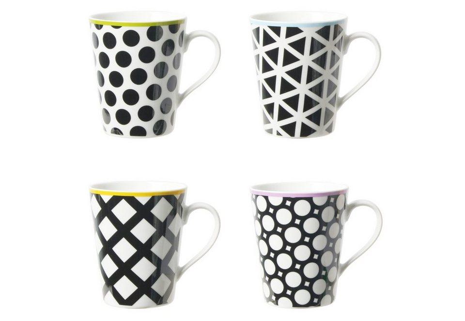 contento Porzellanbecher, »Cool Black«, 4 Stück in schwarz, weiß