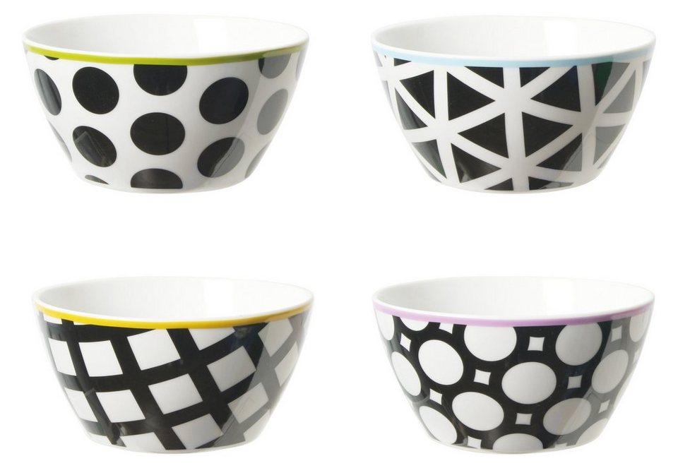contento Porzellanschalen, »Cool Black«, 4 Stück in schwarz, weiß