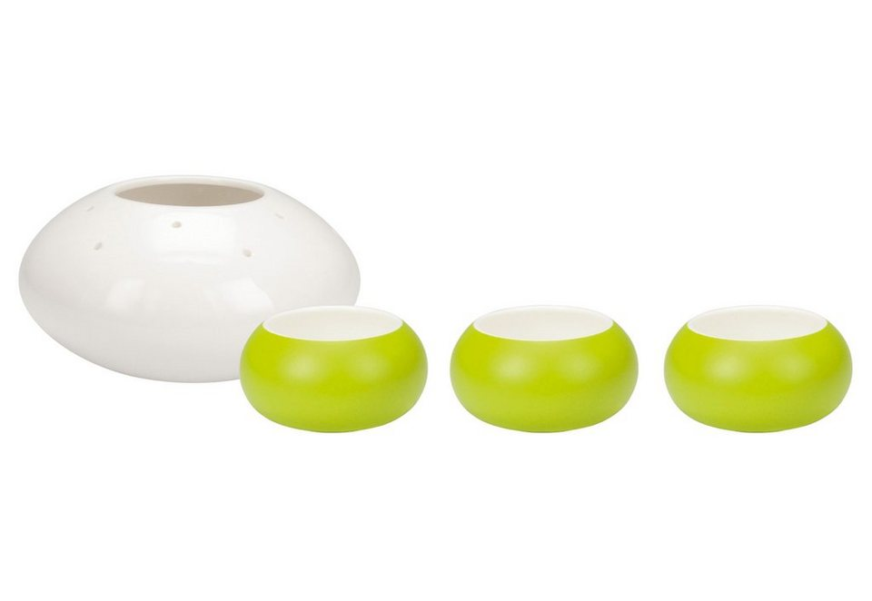 contento Snackschalen, Porzellan, »Pearls« (4er Set) in weiß & grün