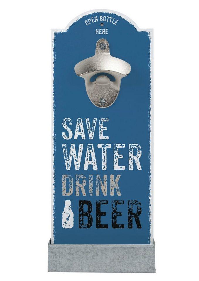 contento Wand-Flaschenöffner, »Save Water« in blau, silber