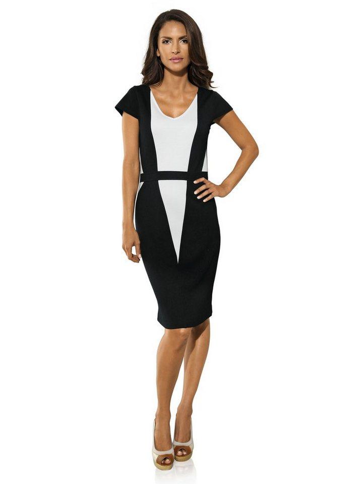 Jerseykleid in schwarz/weiß