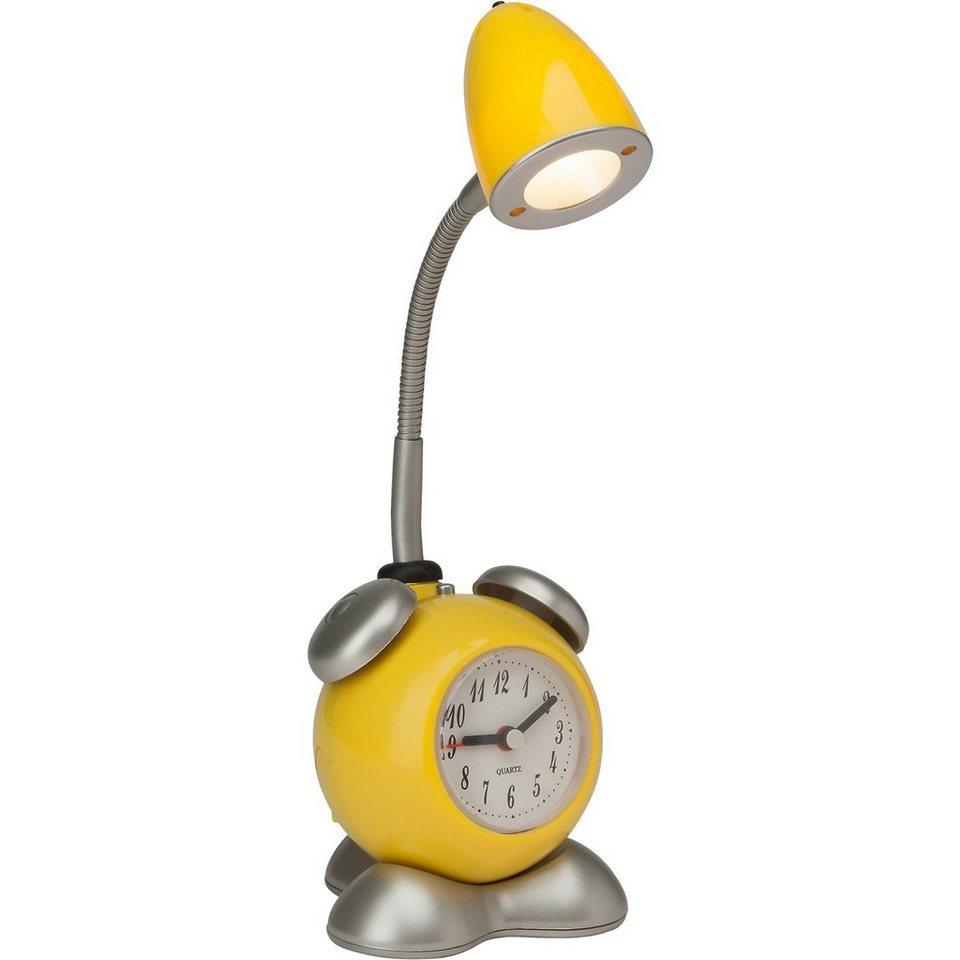 LED Tischlampe Pharrell mit Uhr, gelb in gelb