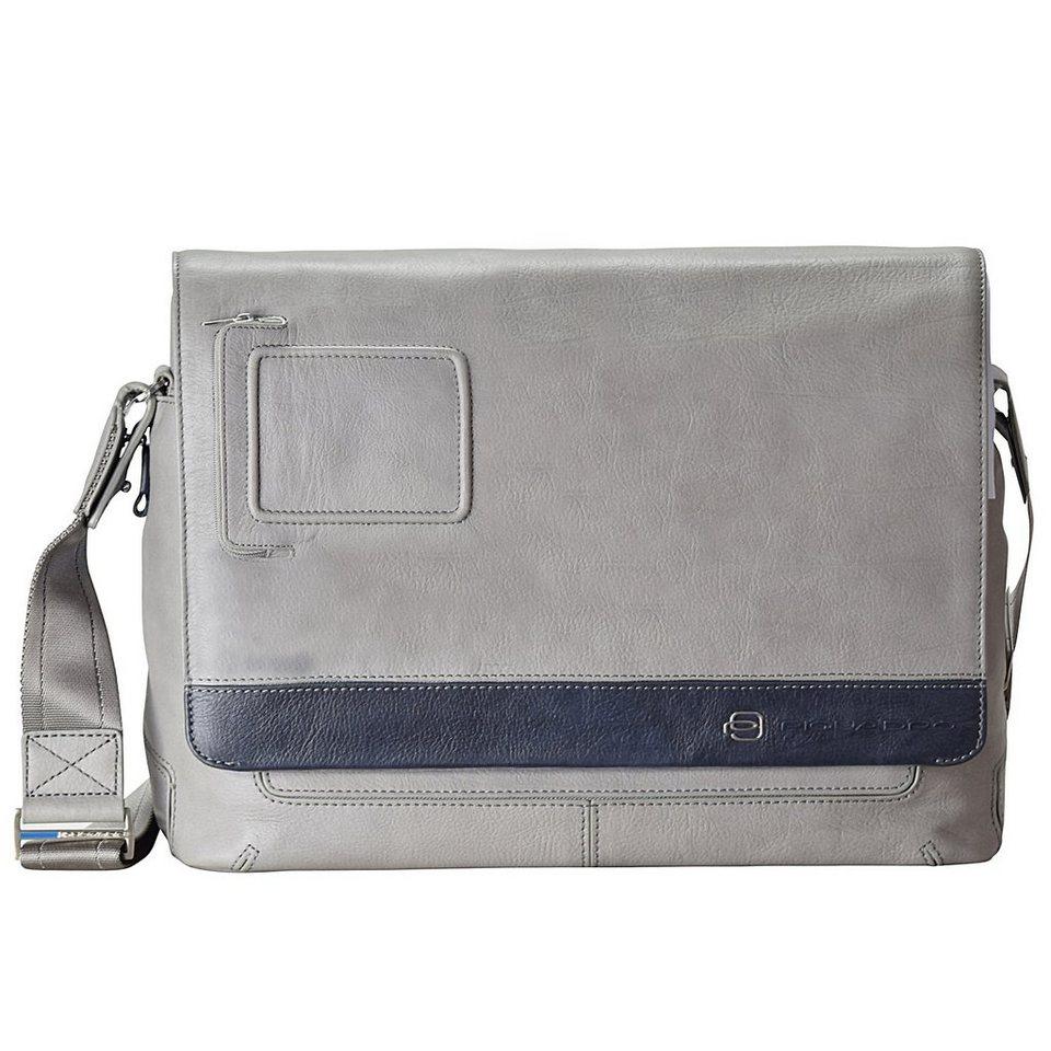 Piquadro Vibe Messenger Leder 42 cm Laptopfach in grau blau