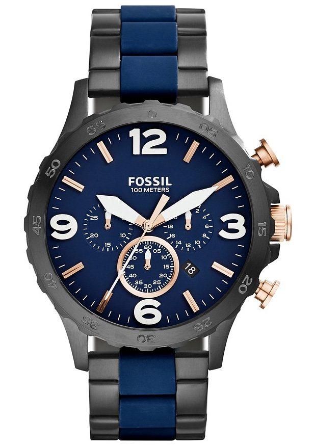 Fossil Chronograph »NATE, JR1494« in grau-blau