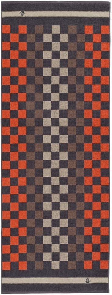 Saunatuch, Egeria, »Plaid«, mit mehrfarbigem Karo in dunkelgrau-rot