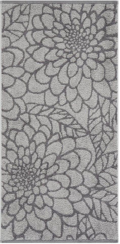 Badetuch, Egeria, »Flora«, mit großen Blütenornamenten in grau