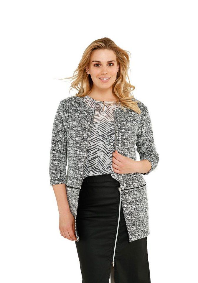 sheego Trend Shirtblazer in schwarz-weiß