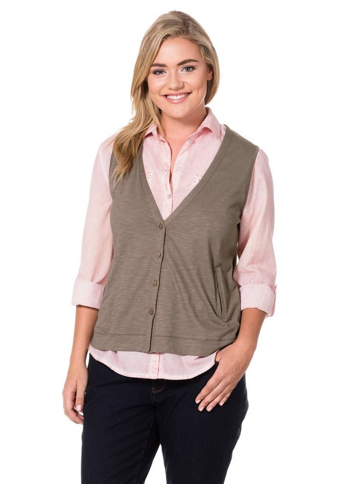 sheego Casual Shirtweste in taupe