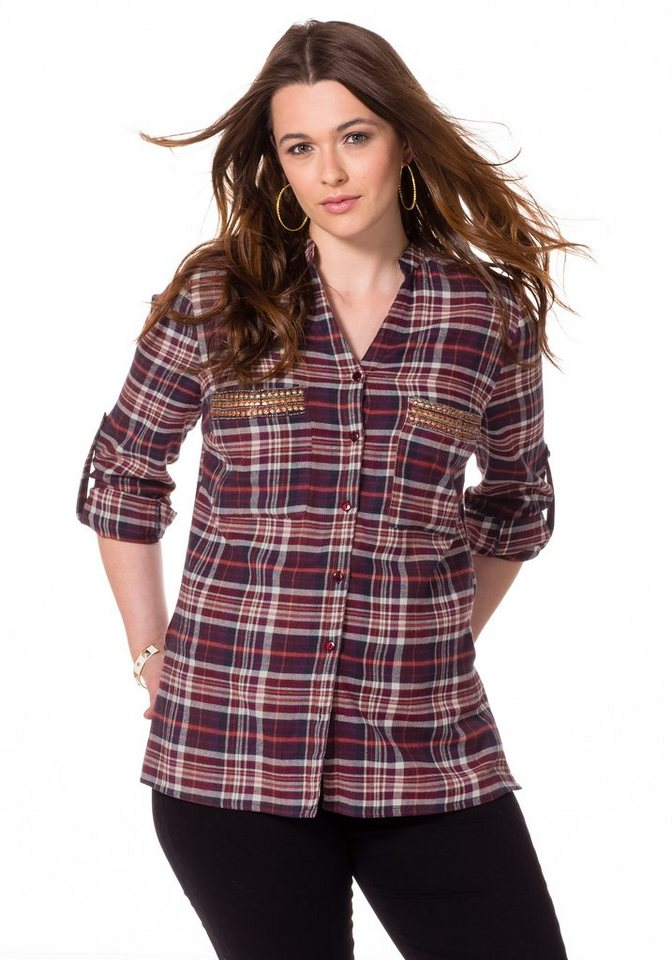 sheego Trend Bluse in bordeaux