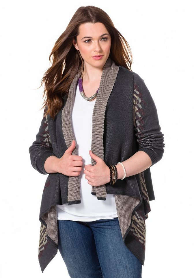 sheego Trend Cardigan in blau gemustert
