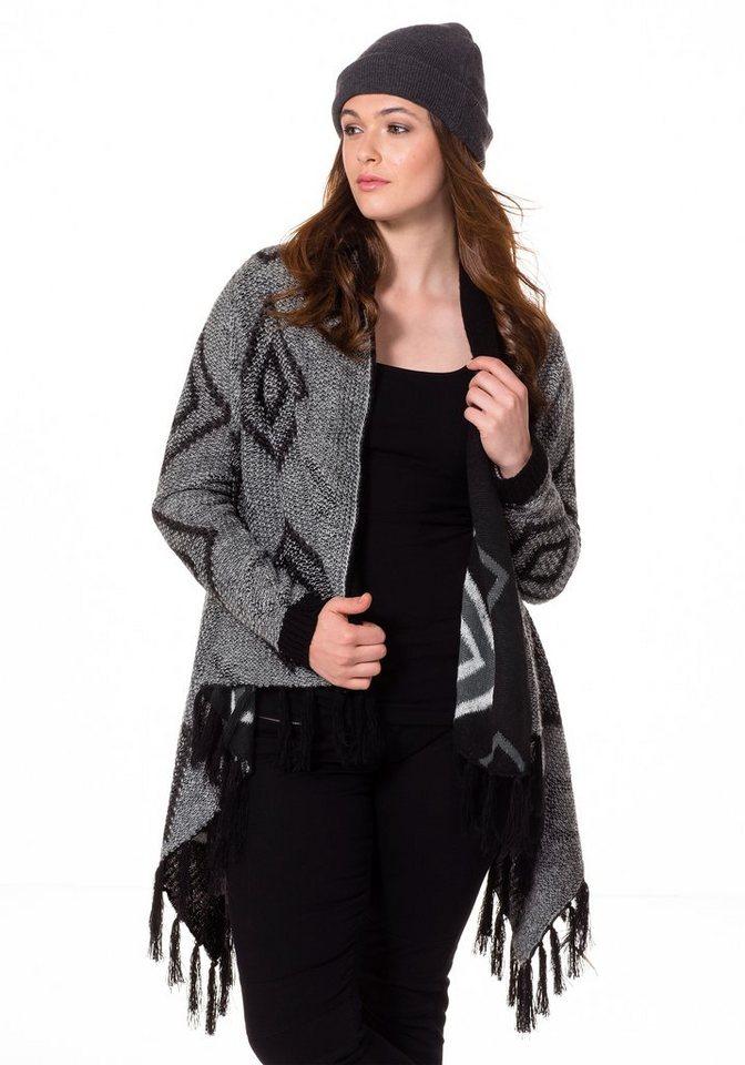 sheego Trend Cardigan in schwarz gemustert