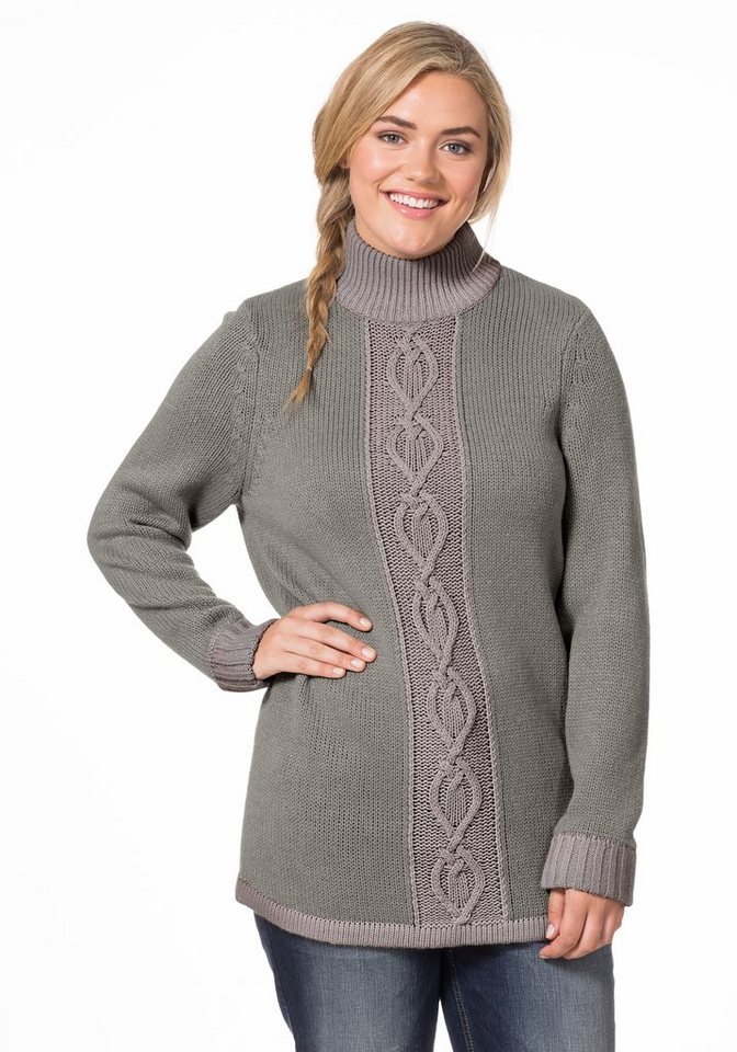 sheego Casual Pullover in steingrau