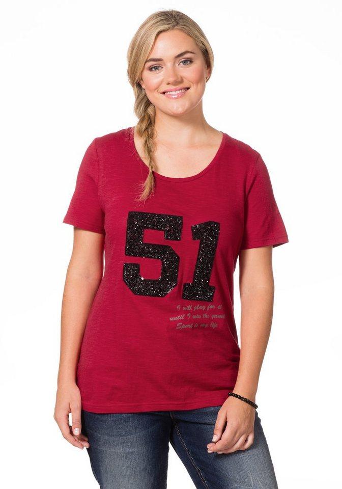 sheego Casual T-Shirt in kirschrot