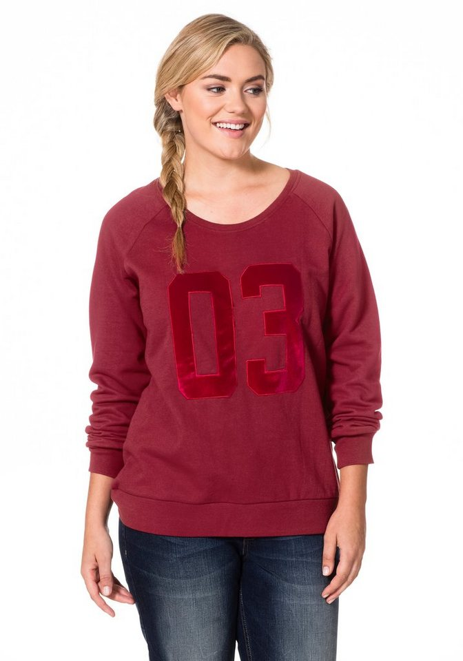 sheego Casual Sweatshirt mit Applikation in kirschrot