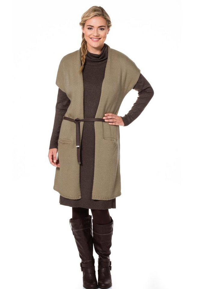 sheego Casual Longstrickjacke in beige