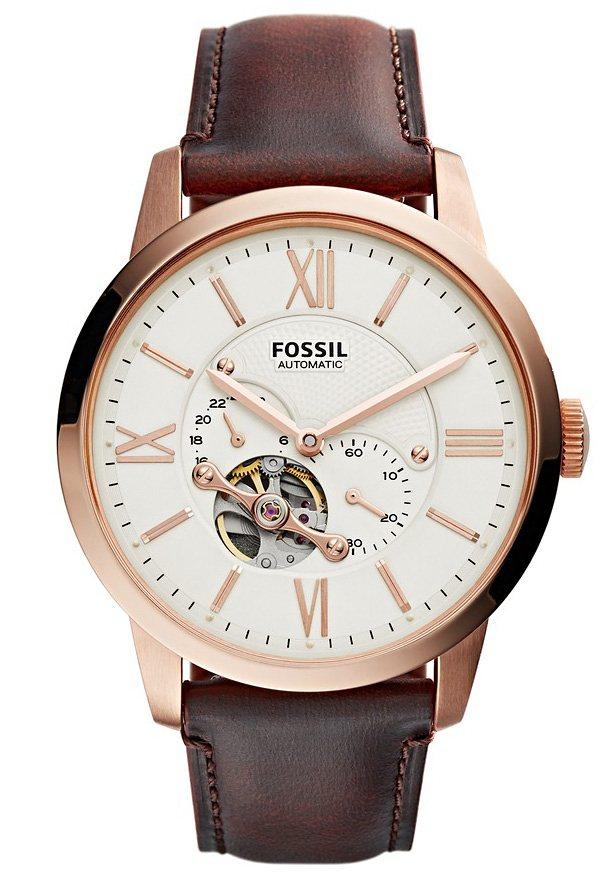 Fossil Automatikuhr »TOWNSMAN, ME3105« kleine Sekunde in dunkelbraun