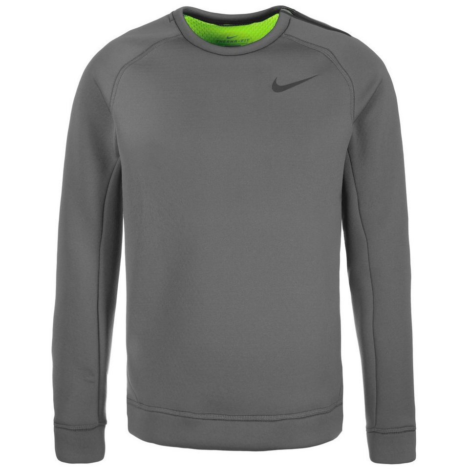 NIKE Thermasphere Max Crew Trainingssweat Herren in grau / lime