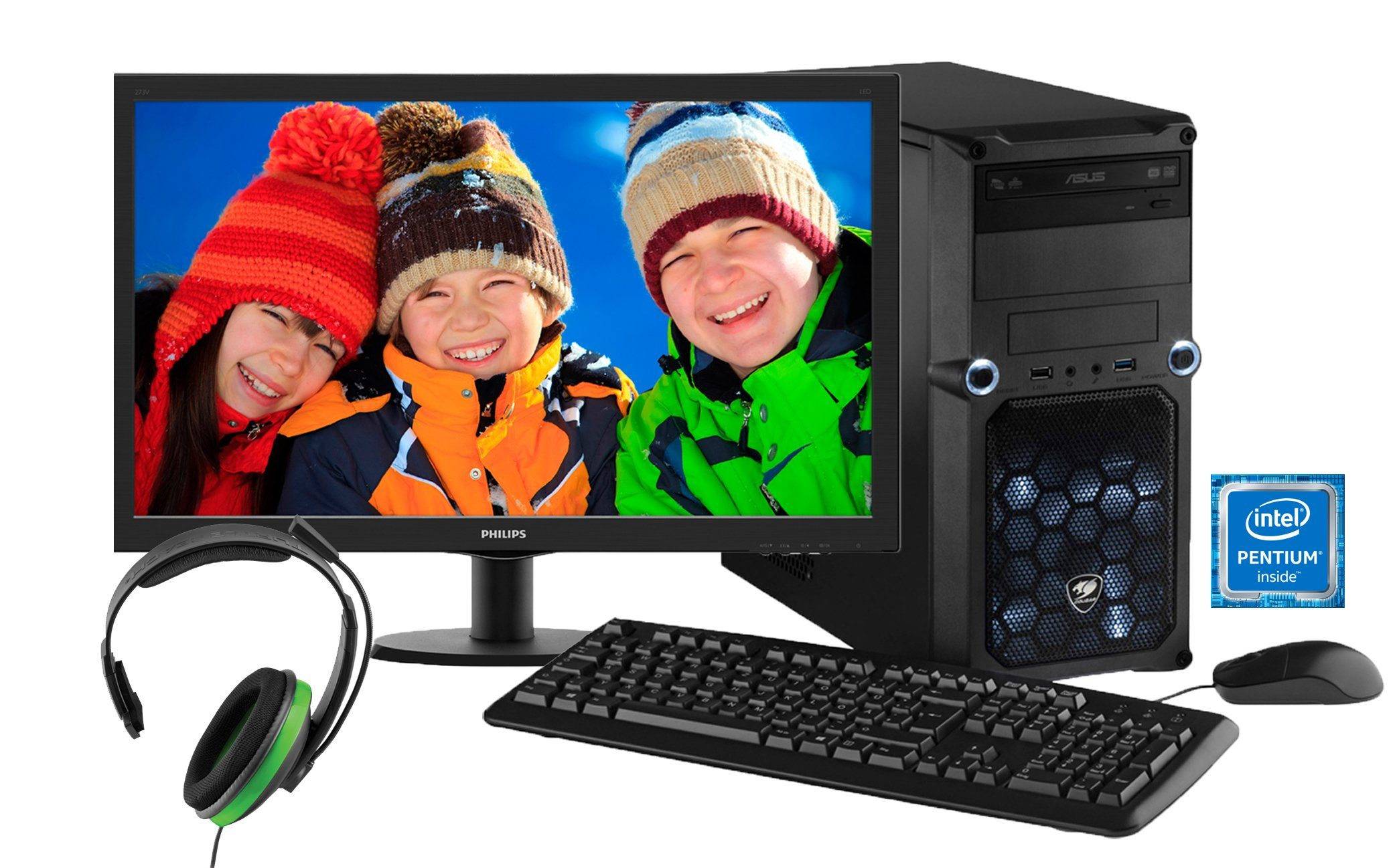 Hyrican Gaming PC Set Intel® Pentium® G4400, GT 730, Windows 10, Monitor »Cyber Gamer SET01024«