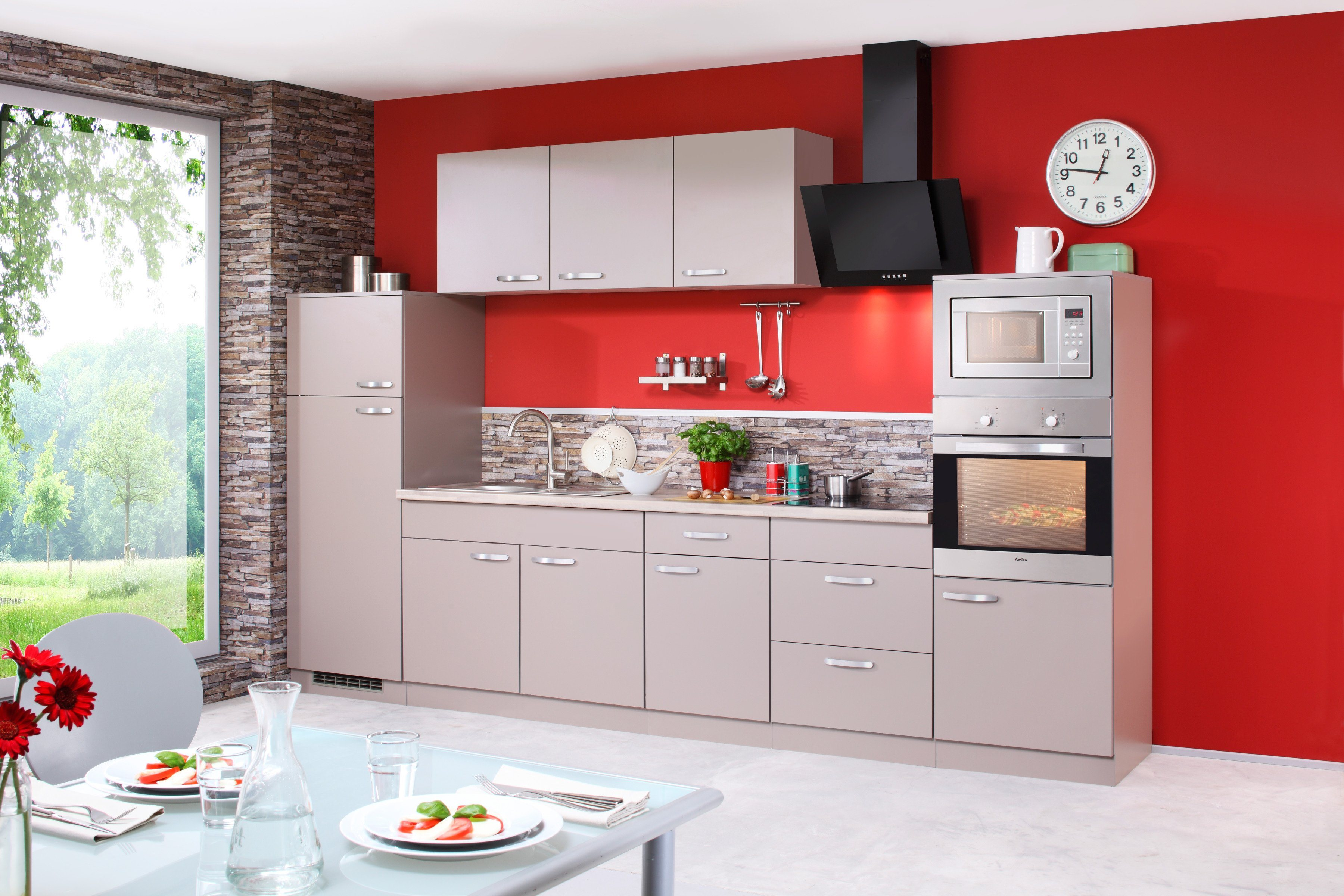 Eitelkeit Küchenzeile Mit Geräten Foto Von Küchenzeile E-geräten »kansasÂ«, Breite 330 Cm -