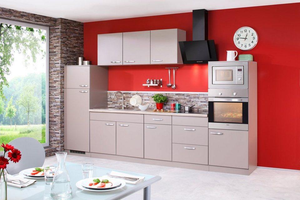 Küchenzeile mit E-Geräten »Kansas«, Breite 330 cm in trüffelfarben