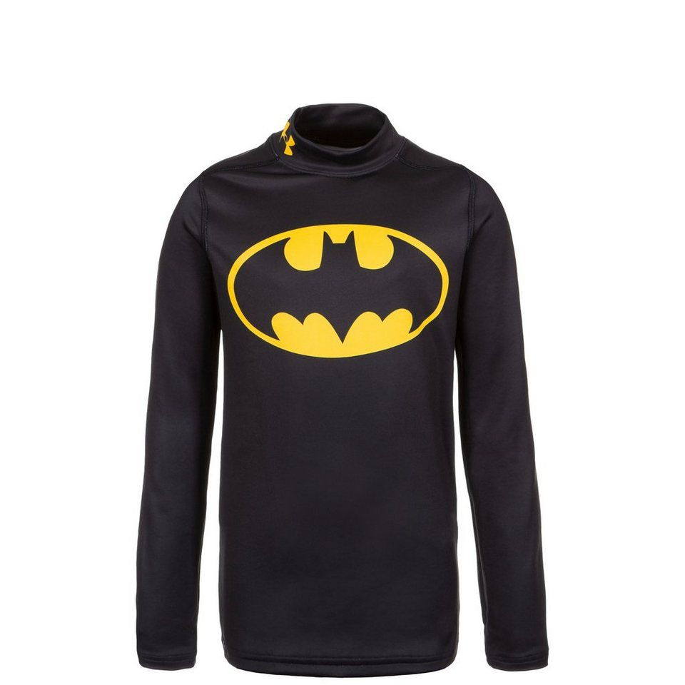 Under Armour® ColdGear Batman Alter Ego Mock Trainingsshirt Kinder in schwarz / gelb