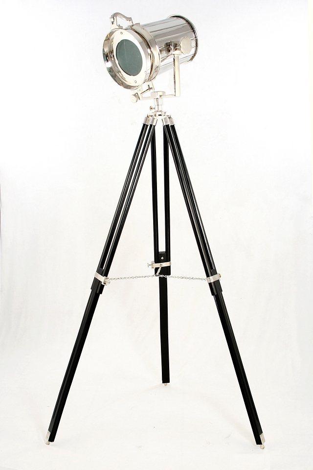 Sit Standstrahler 1 flammig, ohne Leuchtmittel in Messing vernickelt, Gestell schwarz