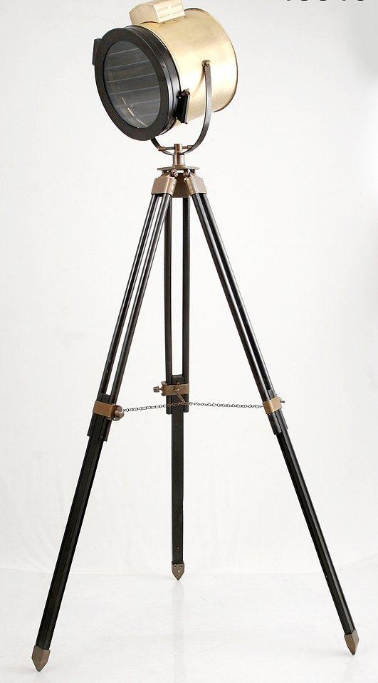 Sit Standstrahler 1 flammig, ohne Leuchtmittel in Aluminium/ Stahl, messingantik mit braun, Gestell braunes Holz